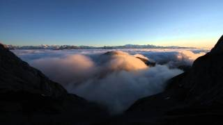 Sea of fog beneath Mount Pilate (Pilatus) at sunset