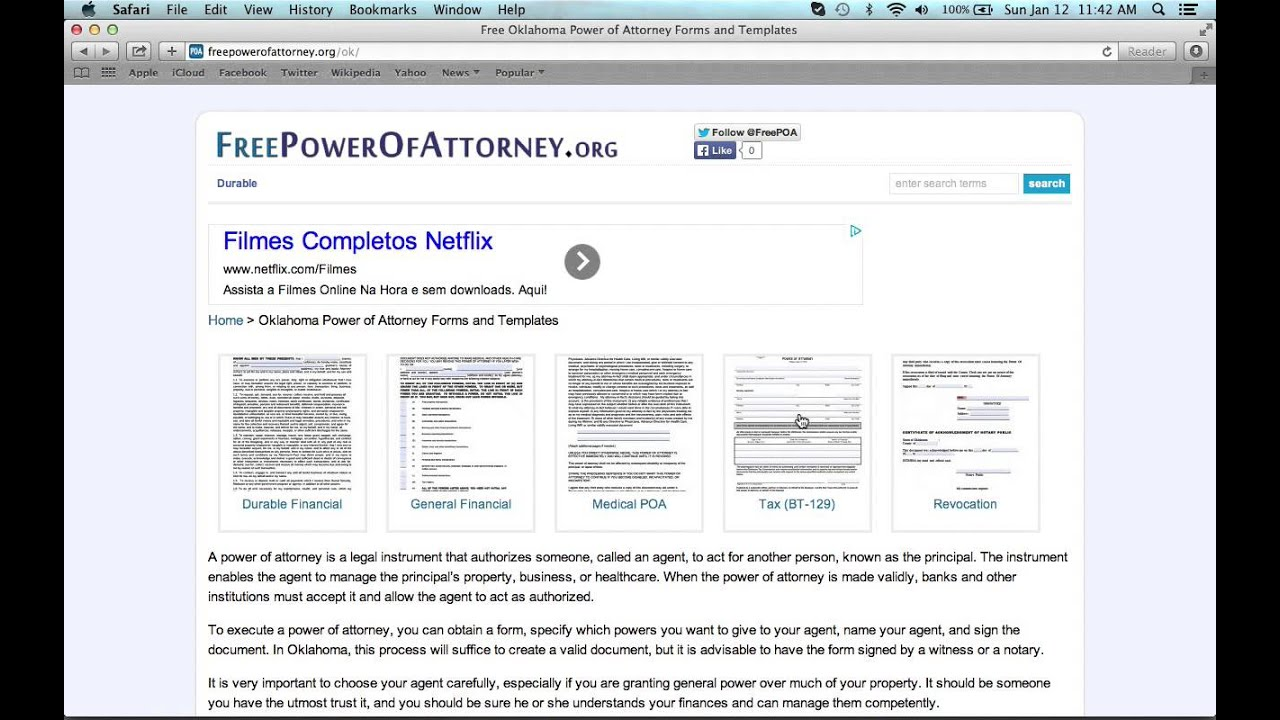 How to fill in a oklahoma power of attorney form youtube falaconquin