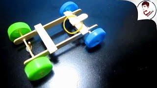 Làm xe đua đồ chơi Cho Bé bằng QUE KEM & Dây Chun | Cực đơn giản