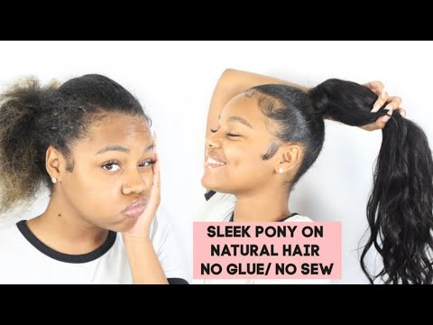 sleek-flat-extended-ponytail-on-natural-hair-no-sew-no-glue-ft.-onemorehair-#freestylefriday