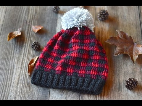 ddc9c34142ff9 Crochet Plaid Slouchy Hat Video Tutorial - YouTube