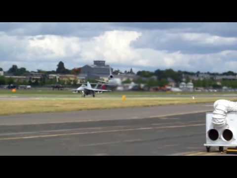F-18 Fighter Jet Takeoff From Farnborough Airport