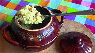 Куриный плов Рис с мясом в горшочках рецепт в духовке pilaf with chicken a La carte