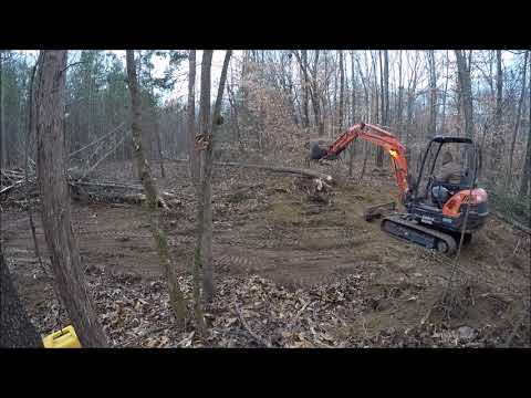 Clearing Trees and Stumps for Driveway With Kubota