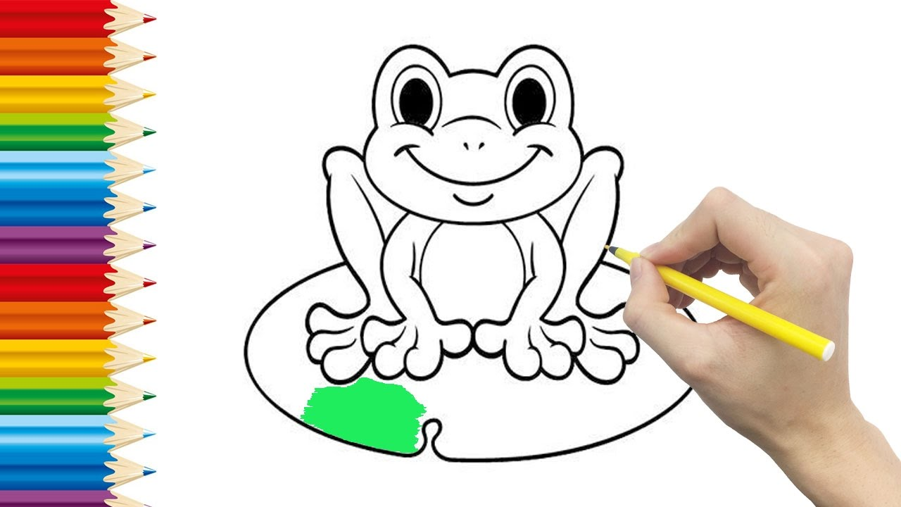 FROG Coloring page for KID and Learning How to Draw frog ...