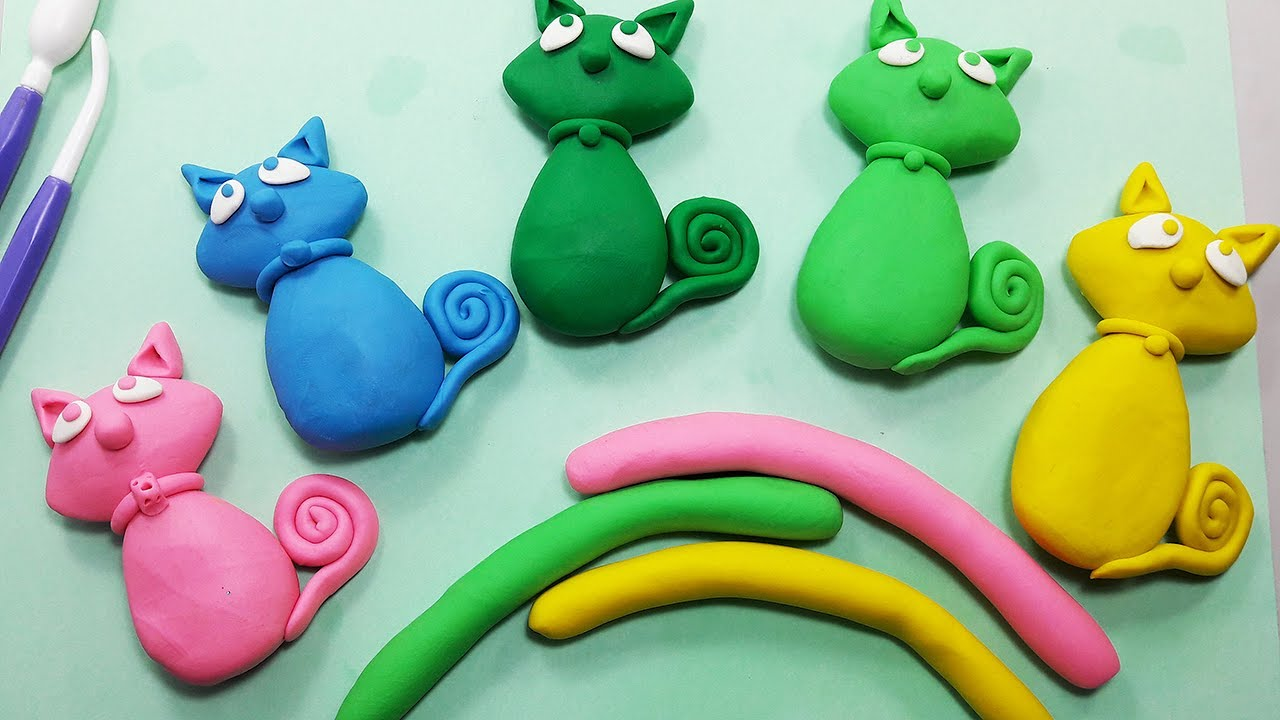 How To Make Cute Clay Kitty For Kids Tutorial Clay Toys Making For