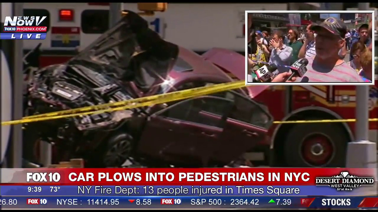 breaking: car crashes into people in new york city - times square