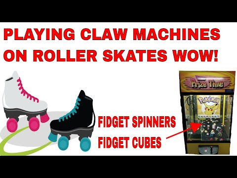 Can we win fidget SPINNERS and fidget CUBES from the Claw Machines and Arcade Games on ROLLER SKATES