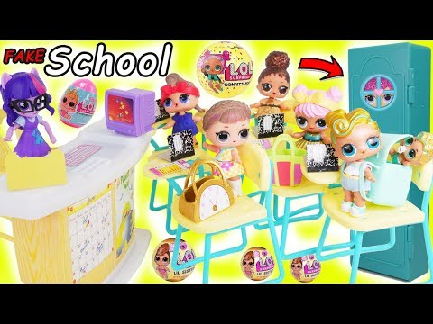 LOL Surprise Dolls School Dress Up Toy Video + Fake Vs Real Lil Sisters, Wrong Outfits Confetti Pop!