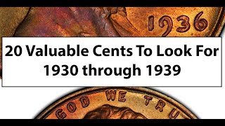 1930 TO 1939 - 20 Valuable Lincoln Wheat Cent Pennies To Look For