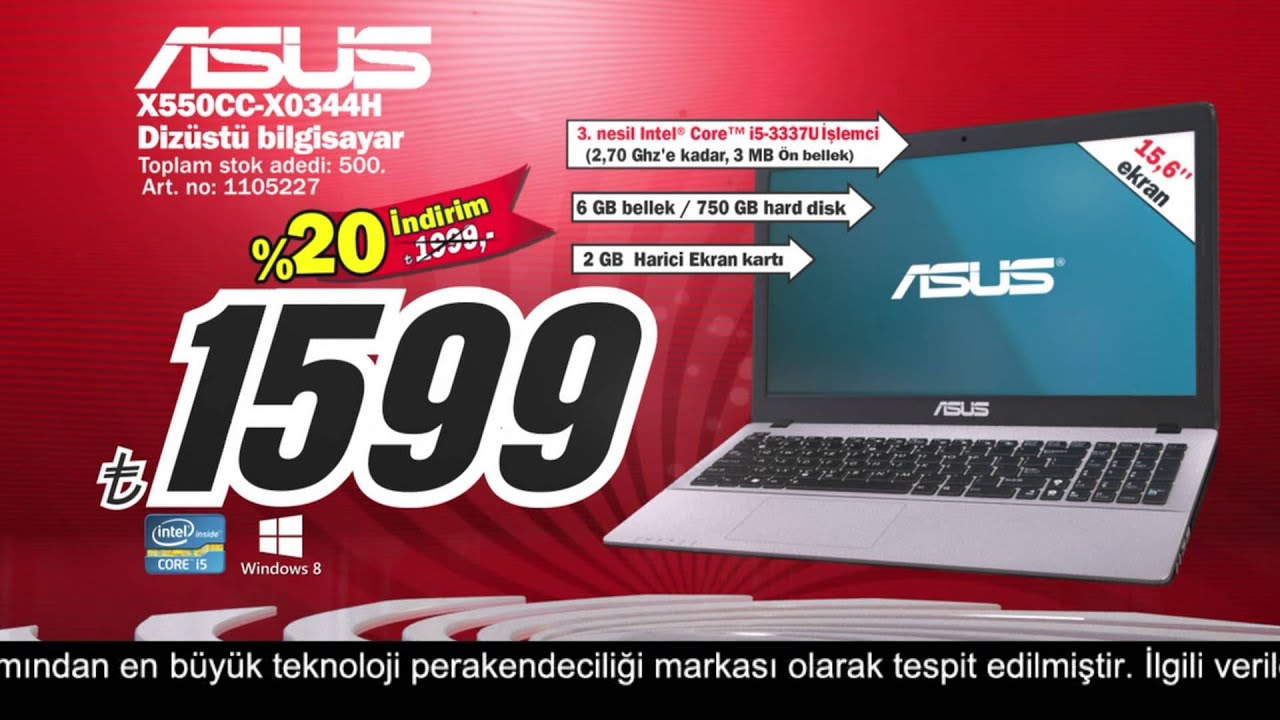 media markt 6 y l asus notebook kampanyas youtube. Black Bedroom Furniture Sets. Home Design Ideas
