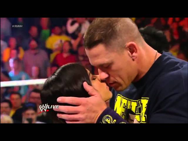 John Cena and AJ Lee Kiss   WWE Raw 111912 Travel Video