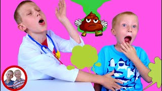 Doctor set toys   Stinky - gassy patient   Mike and Jake pretend play   Doctor kit شفا   العاب دكتور