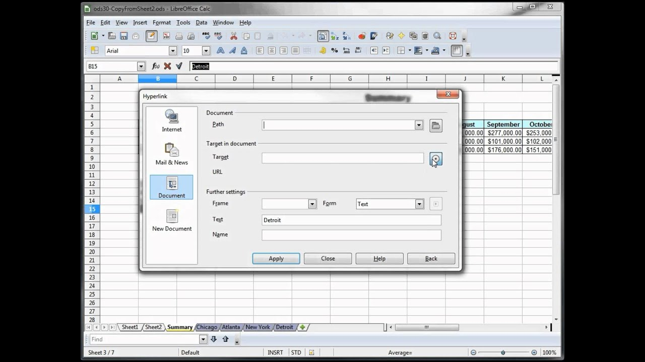 33- Libre Office - Calc, Open Office -- Calc, Excel Tutorial -- Add  Hyperlink Index page