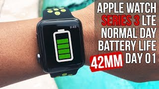Apple Watch⌚️Series 3 LTE Nike 42mm Normal Day 1 | Battery Life | 🏊 Swim