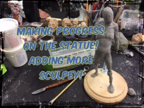 Making progress on the statue! Applying more Sculpey!