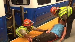 Boston EMS members attended training drill at the MBTA Emergency Training Center