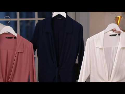 H by Halston Long Sleeve Hi-Low Tunic with Extended Self Tie on QVC