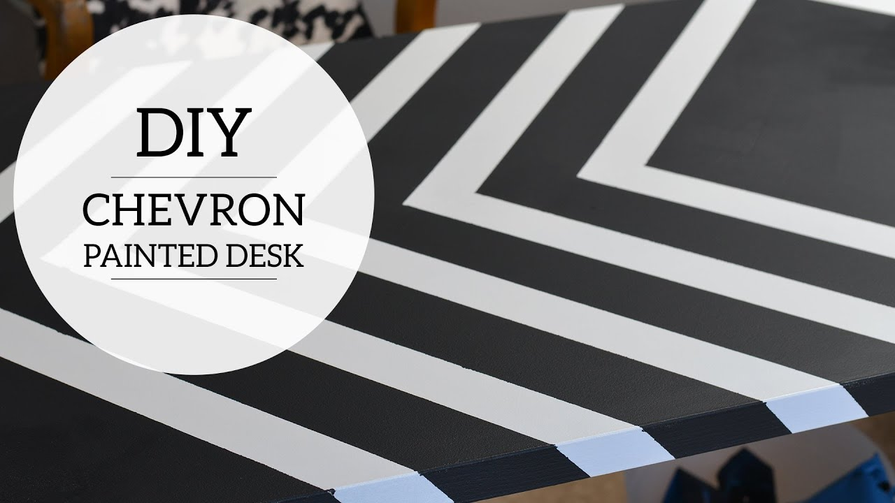 Home Office: How to Paint Chevron Stripes on Your Desk - YouTube