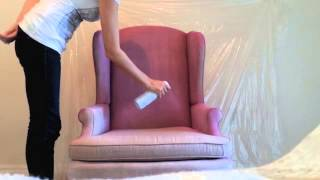 DIY How to spray paint fabric on furniture