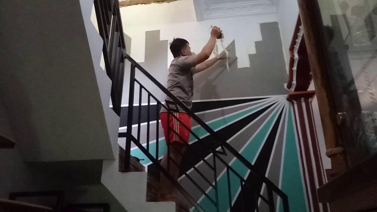 Ide Kreatif Merubah Tampilan Dinding Tangga Rumah - YouTube