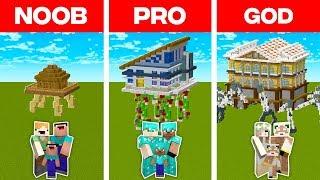Minecraft NOOB vs. PRO vs. GOD: FAMILY WALKING HOUSE BULD CHALLENGE in Minecraft (Animation)