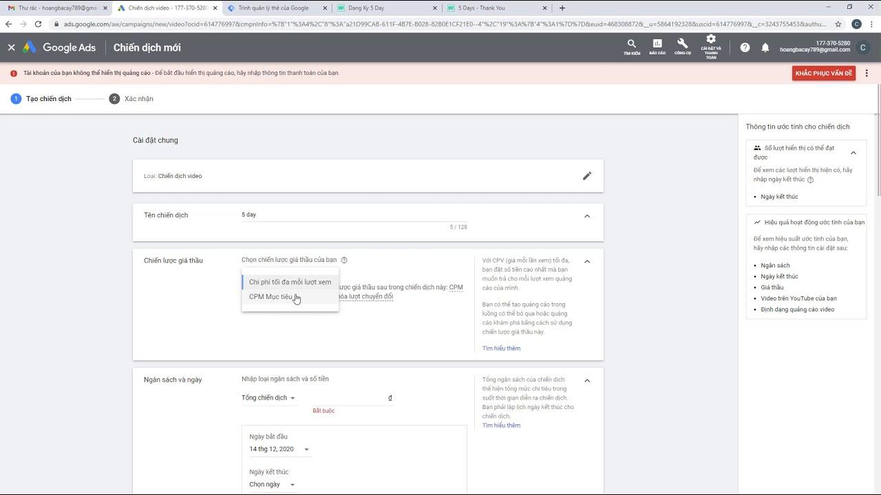 Bài 03: Tạo chuyển đổi và lên chiến dịch quảng cáo Youtube chi tiết