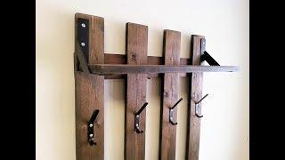 Вешалка для одежды из досок и металла - Clothes hanger from boards and metal