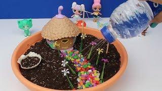 Oyuncak Bebeklerle Sihirli Peri Bahçesi Yaptık ! My Fairy Garden gerçek çimli DIY - Bidünya Oyuncak