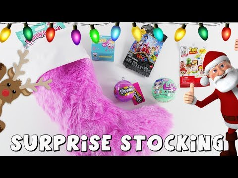 Surprise Toys in Christmas Stocking | Toy Videos by DCTC Amy Jo