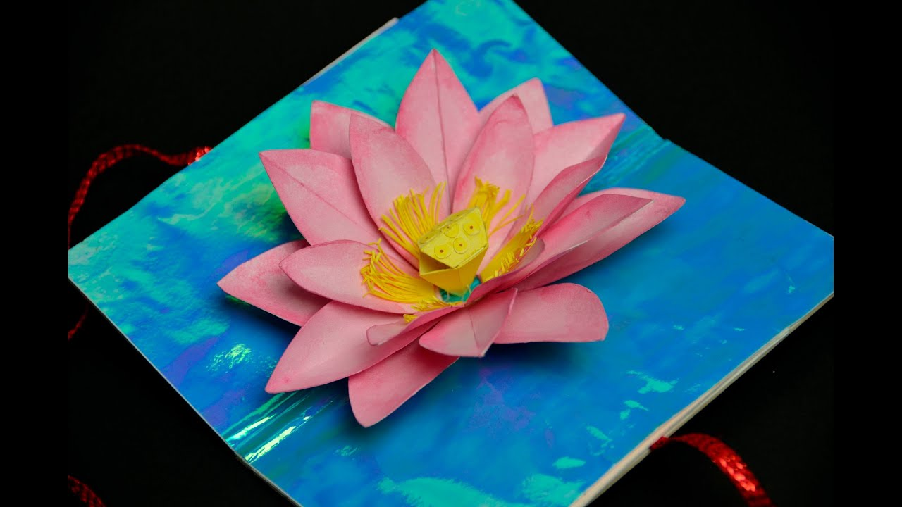 Lotus flower pop up card youtube mightylinksfo