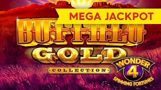 MEGA JACKPOT HANDPAY! Wonder 4 Spinning Fortunes - Buffalo Gold Collection Slot!