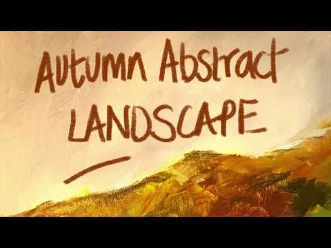 Autumn acrylic abstract landscape painting real time