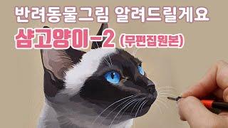 반려동물초상화/샴고양이 그리기 실시간 방송 무편집
