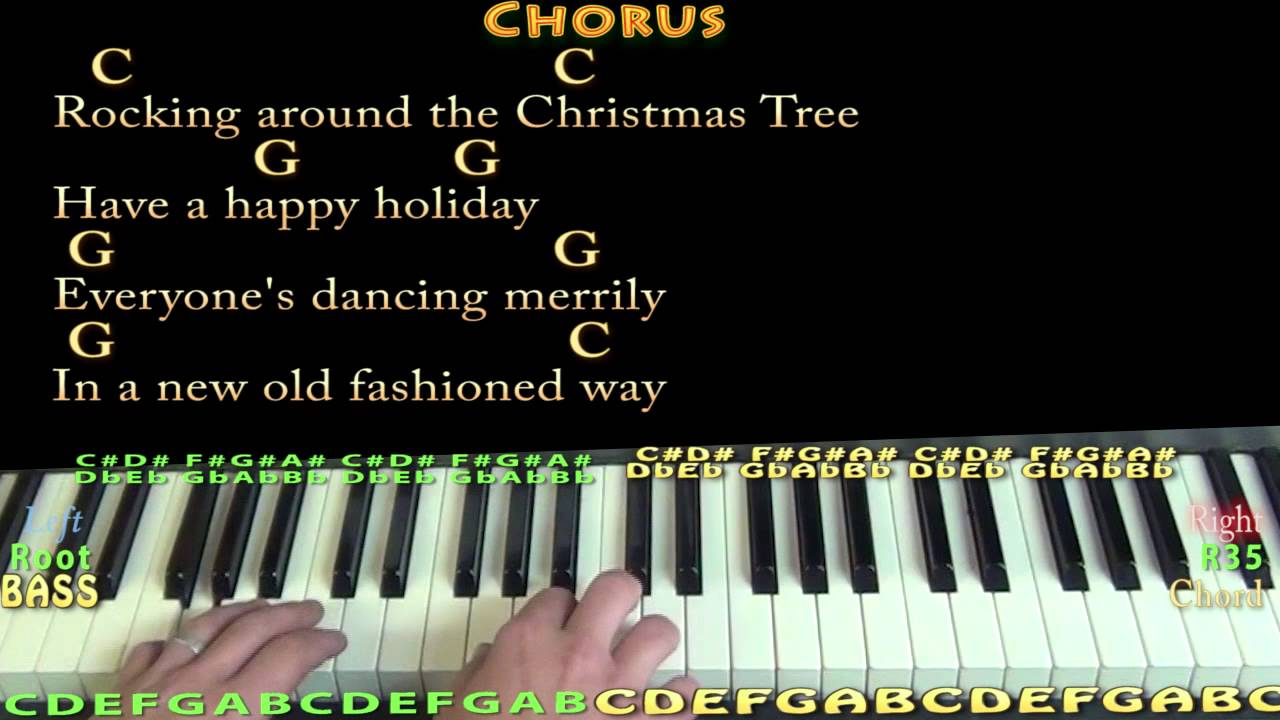 Rocking Around the Christmas Tree   Piano Cover Lesson in C with  Chords/Lyrics