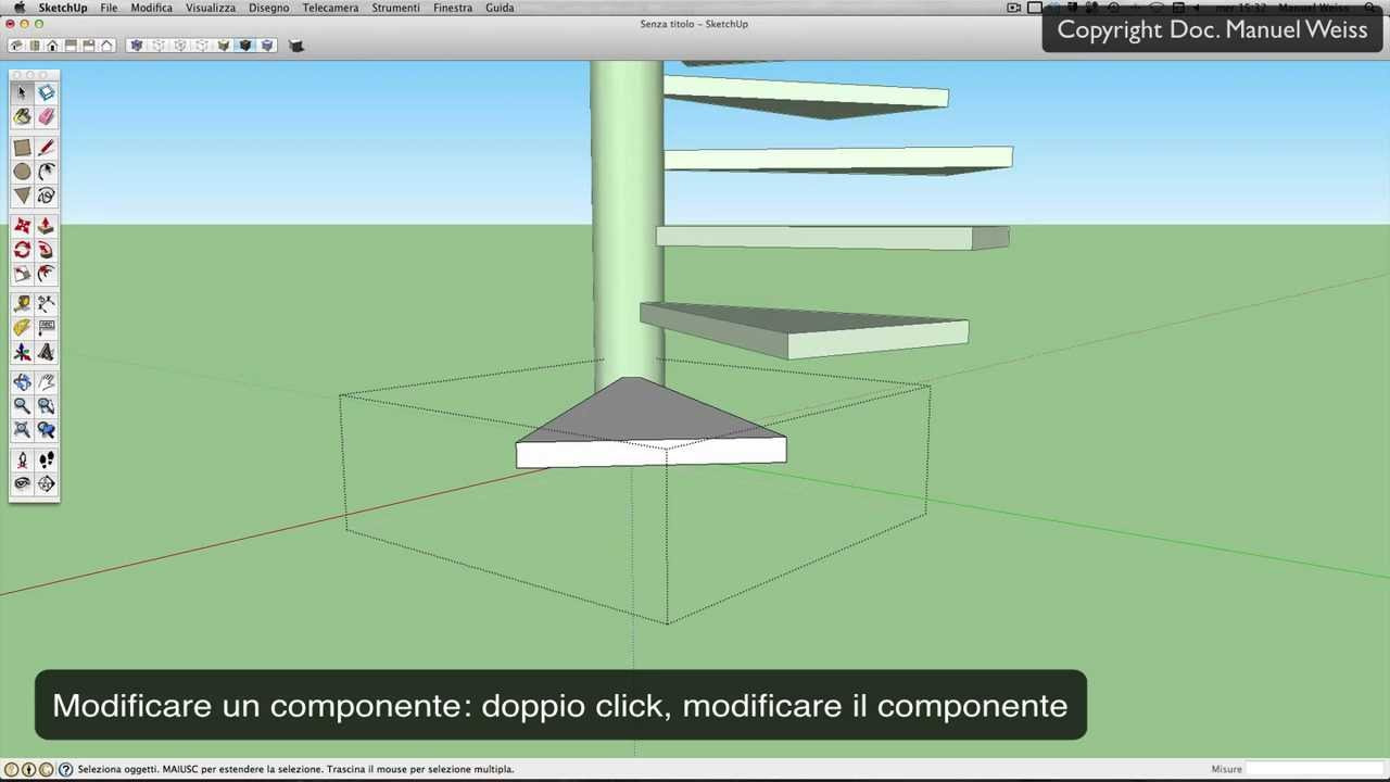 Disegnare Una Scala A Chiocciola tutorial sketchup - esercizio 13 scala a chiocciola