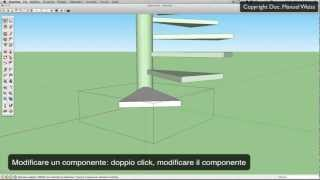 Tutorial SketchUp - esercizio 13 scala a chiocciola