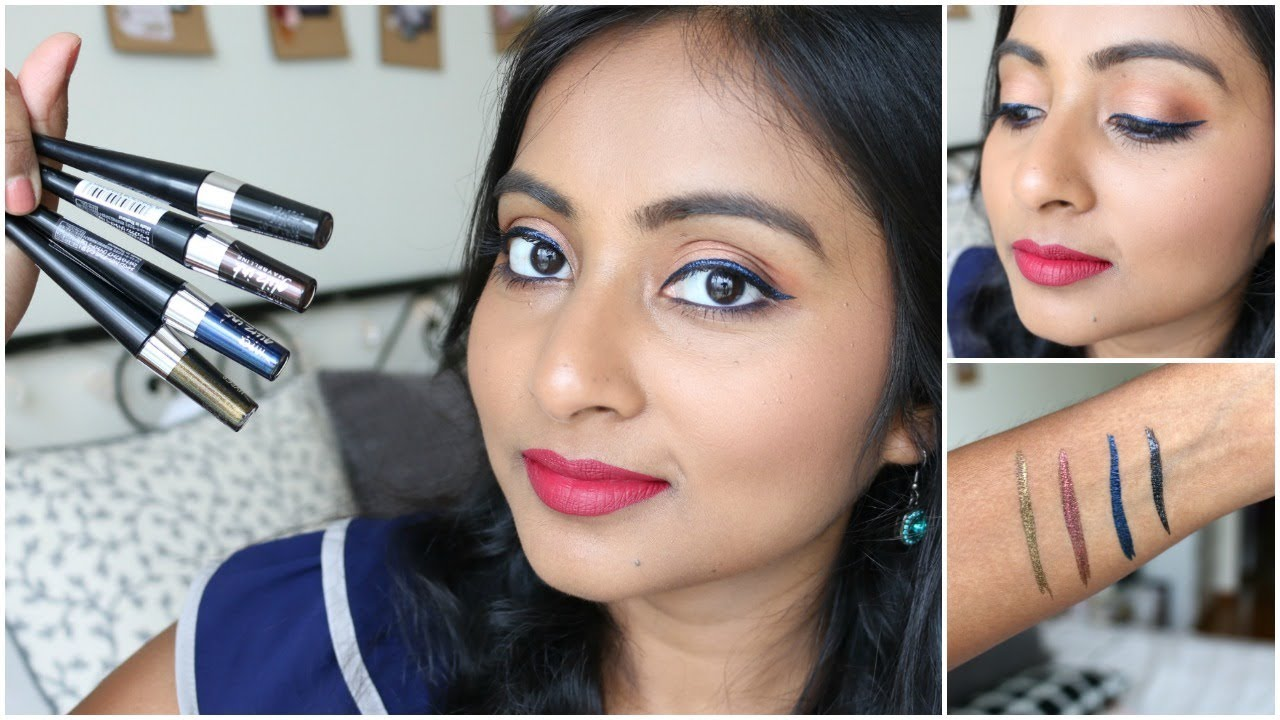 Maybelline Hyper Glitz Ink Glitter Eyeliner Review Swatches Liquid Black