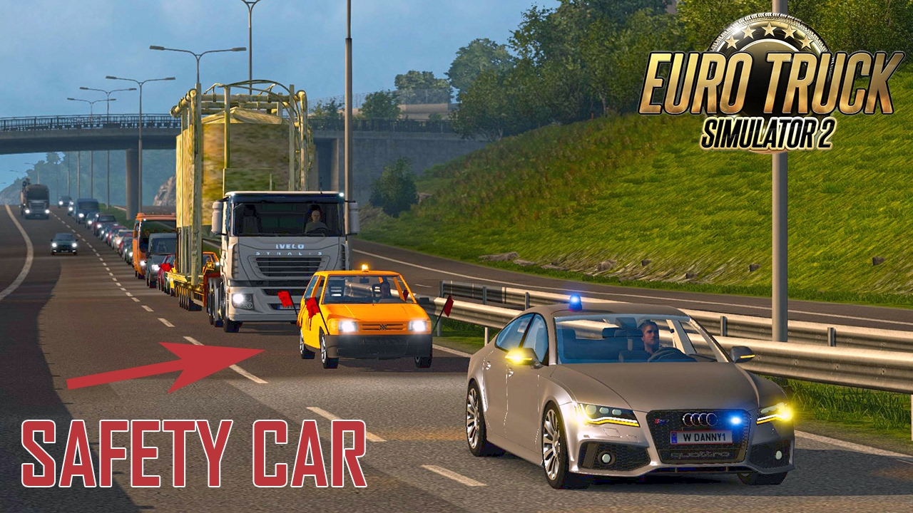 ETS2 Oversize Load with Safety Assistance Cars for traffic
