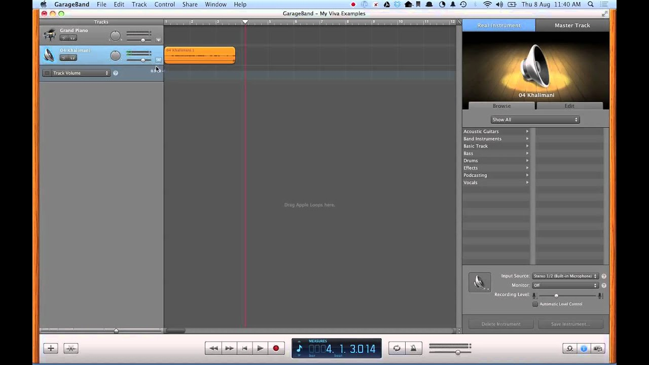 Chopping up music in GarageBand