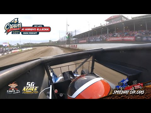 #1 Karsyn Elledge - USAC Midget - Hot Laps - 9-28-19 Eldora Speedway - In-Car Camera
