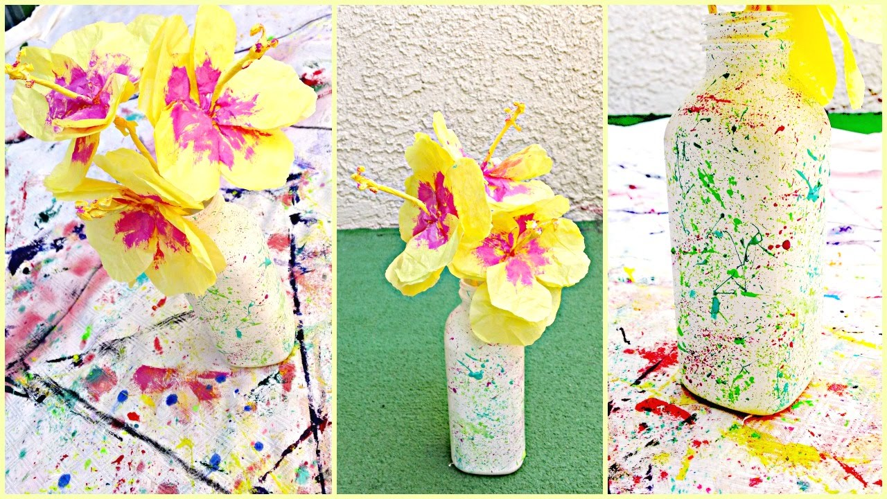 diy flower decorations paper hibiscus vase ideas - Flower Decorations