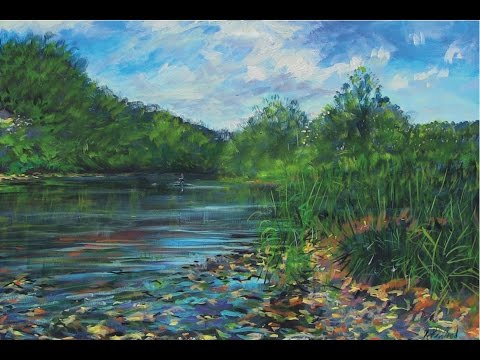 Catching Barbel and two Acrylic Paintings of Anglers fishing
