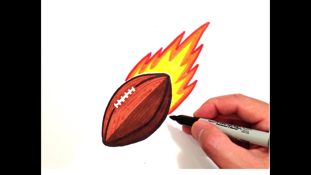 How To Draw A Football With Flames Youtube