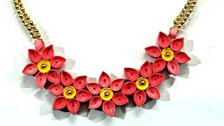 DIY Quilled Paper Necklace   Easy Paper Quilling Jewelry Tutorial   Handmade Flower Jewelry
