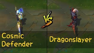 Cosmic Defender Xin Zhao vs Dragonslayer Xin Zhao Skins Comparison (League of Legends)