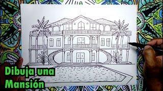 Cómo dibujar una casa tipo Mansión - pasos faciles