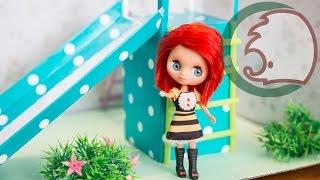 Как сделать горку для кукол. How to make a slide for dolls.(У нас во дворе уже были качели для кукол https://youtu.be/AY5PkmQlng4. Ну а сегодня мы сделаем горку для наших малюток...., 2015-03-13T18:48:22.000Z)