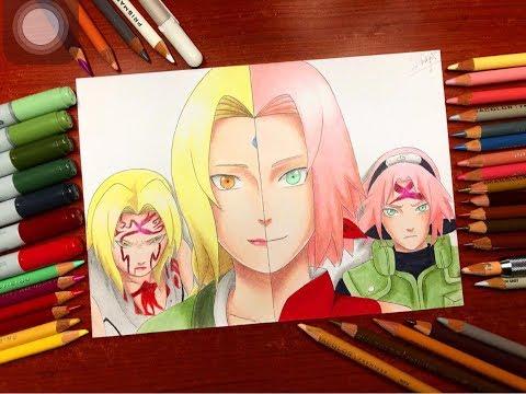 Speed Drawing - Sakura And Tsunade (Naruto Shippuden) [HD]
