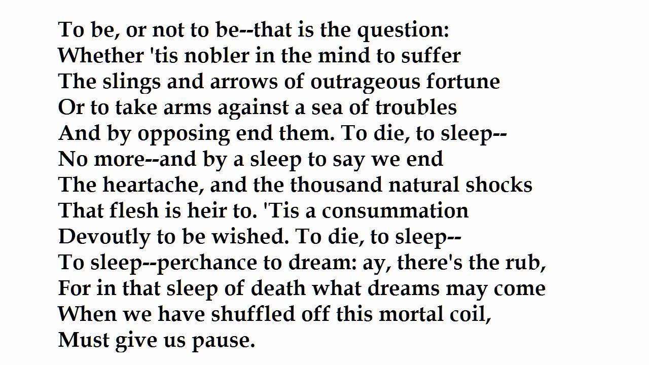 To Be Or Not To Be Hamlet's Soliloquy By William